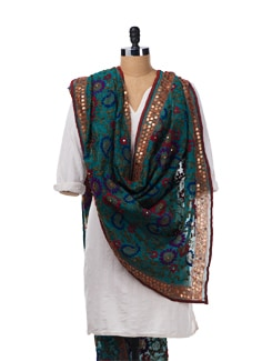Sea Green Chanderi Silk Phulkari Dupatta - Vayana