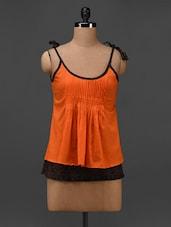 Orange Cotton Pleated Hand Block Printed Top - 9rasa