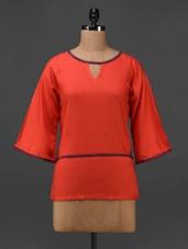 Orange Cotton Viscose Hand Block Printed Tunic - 9rasa