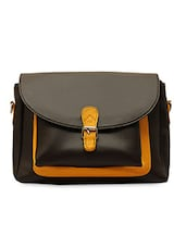 Black Textured Leatherette Sling Bag - La Volsa