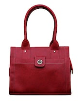 Front Pocket With Contrasting Stitch Leatherette Handbag - FOSTELO - 1056972
