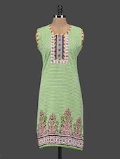Round Neck Printed Cotton Kurti - Zara Deals