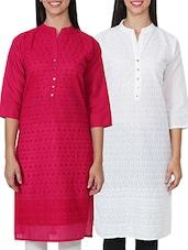 Pink & White Cotton A Line Kurta - By