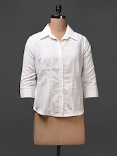 Off White Polyester Plain Solid Shirt - Meiro
