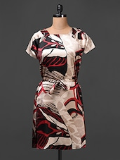 Satin Printed Dress  With Waist Tie Up - Meiro