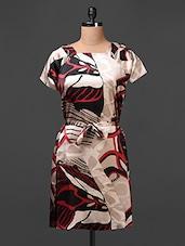 Satin Printed Dress  With Waist Tie Up - Meiro