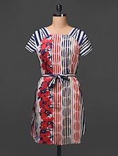 Crepe Printed Dress Comes With Waist Tie Up - Meiro