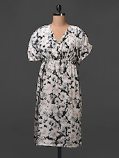 Crepe Floral Printed Dress With Elastic At Waist - Meiro