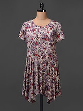 Poly Crepe Floral Printed High Low Dress - Meiro