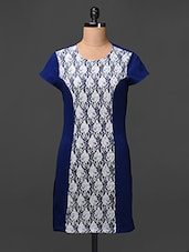 Blue Lace Paneled Cotton Spandex Dress - Meiro