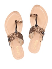 Copper Golden Glittery  Strap Flat Sandals - Fashion Mafia