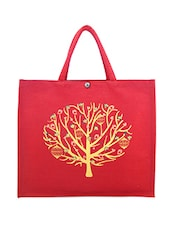 Red Printed Jute Bag - ANGES BAGS
