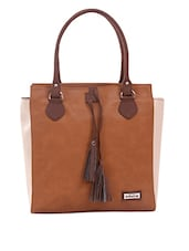 Brown Shoulder Bag With Contrast Side Paneled - Adaira