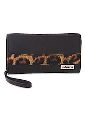 BLACK ANIMAL PRINT PANELLED Wallet - Adaira