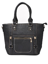 Black Bucket Shaped PU Handbag - ADISA