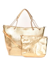Golden Chain Strap PU Handbag - ADISA