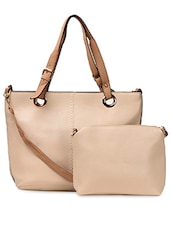 Plain PU Handbag With Contrast Handle - ADISA
