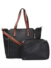 Brown Contrast Handle Black PU Handbag - ADISA