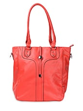 Red PU Handbag With Detachable Sling - ADISA