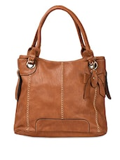 Brown PU Embellished Handbag - ADISA