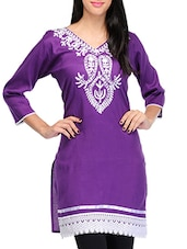 Purple Poly Rayon Regular Kurta - By