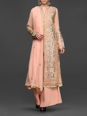 Gota Patti Embellished Peach Georgette Suit Set - Abhilasha And Abhishek