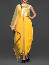 Mirror Worked Yellow Draped Suit Set - Abhilasha And Abhishek