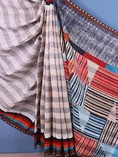 Stripes Printed Bhagalpur Silk Saree - ROOP KASHISH