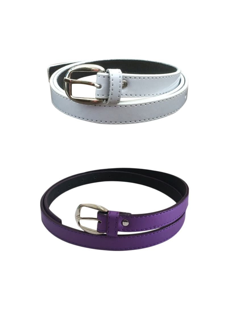 White, Blue Leatherette Combos Belt - By