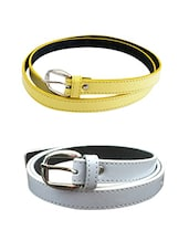 Yellow,white Leatherette Combos Belt - By