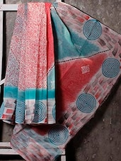 Concentric Circle Printed Border Printed Net Saree - JBT