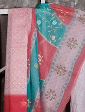 Printed With Embroidery Supernet SAREE - JBT