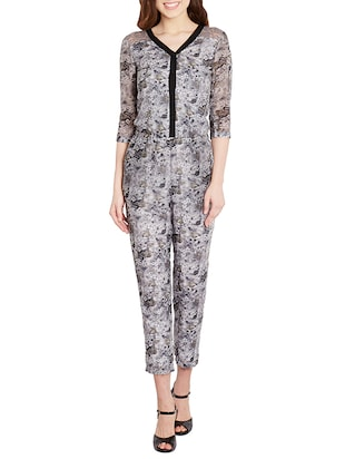 grey cotton full leg  jumpsuit -  online shopping for Jumpsuits