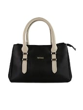Textured Black Leatherette Handbag - BEAU DESIGN