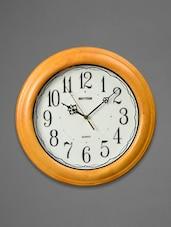 Light Brown Wooden Wall Clock - Rhythm