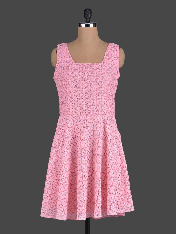 Pink Sleeveless Lace Dress - Eavan