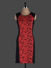Black And Red Printed Bodycon Dress - Eavan