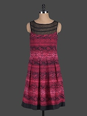Black And Maroon Printed Dress - Eavan