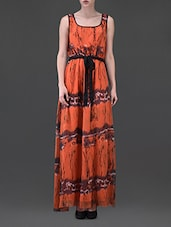 Sleeveless Printed Belted Chiffon Maxi Dress - Eavan