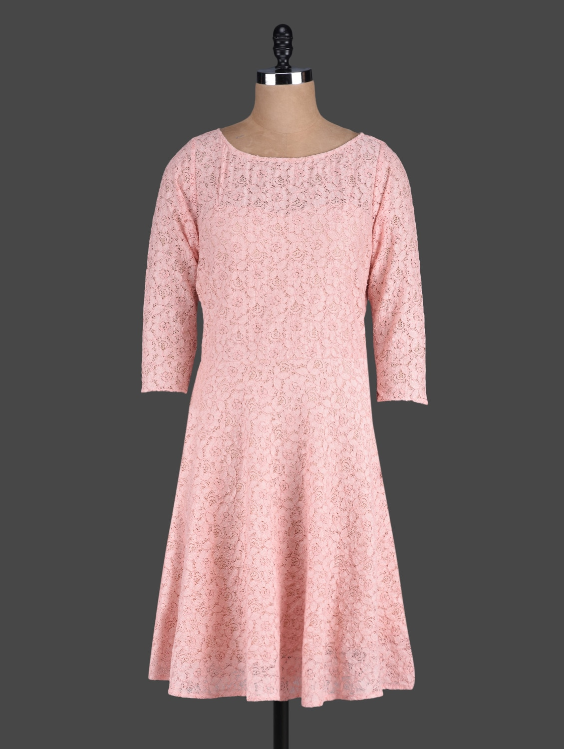 Peach Fit And Flare Lace Dress - Eavan