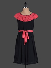 Black Dress With Coral Lace Panel - Eavan