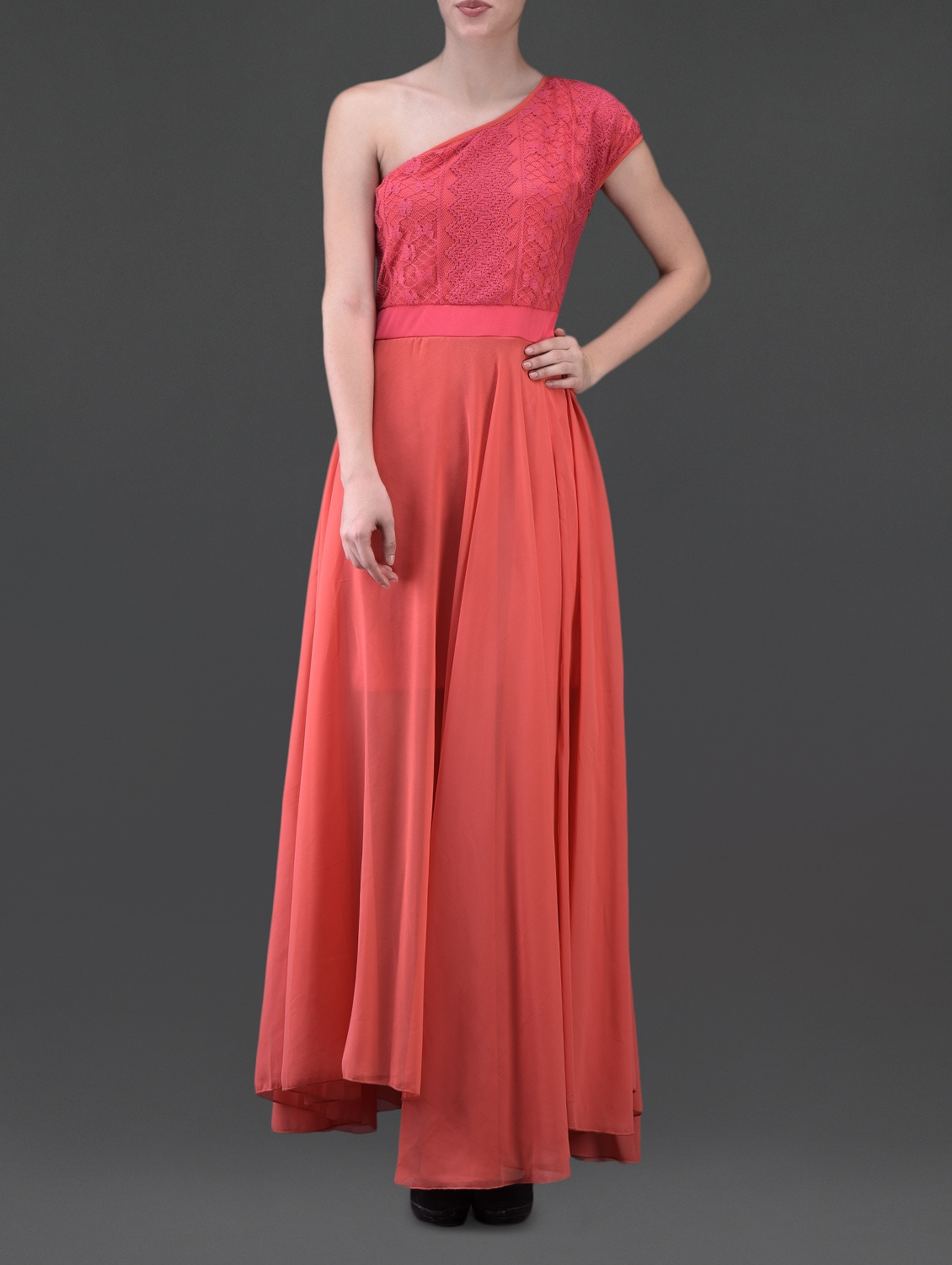 Single Shoulder Lace & Georgette Maxi Dress - Eavan