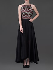 geometric print black georgette maxi dress -  online shopping for Dresses