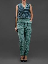 Sea Green And Blue Aztec Printed Jumpsuit - Eavan