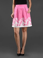 Pink Floral Printed Cotton Skirt - Eavan