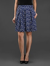 Navy Blue Printed Poly-crepe Skirt - Eavan