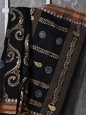 Paisley Border Cotton Hand Paint Saree - SURAVI