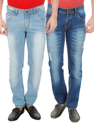Set Of 2 Blue Cotton Jeans -  online shopping for Jeans