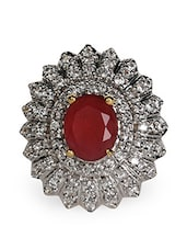 Red Stone & American Diamond Ring - Crunchy Fashion