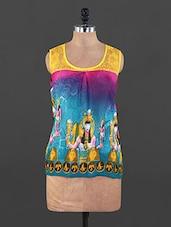 Lace Yoke Printed Top - Xniva